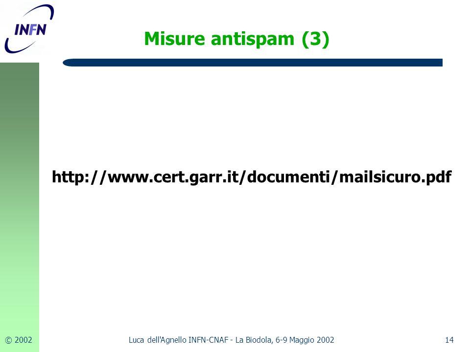 © 200214Luca dell Agnello INFN-CNAF - La Biodola, 6-9 Maggio 2002 Misure antispam (3) http://www.cert.garr.it/documenti/mailsicuro.pdf