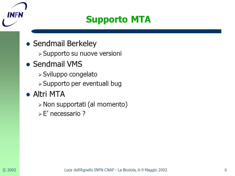 © 20026Luca dell Agnello INFN-CNAF - La Biodola, 6-9 Maggio 2002 Supporto MTA Sendmail Berkeley  Supporto su nuove versioni Sendmail VMS  Sviluppo congelato  Supporto per eventuali bug Altri MTA  Non supportati (al momento)  E' necessario