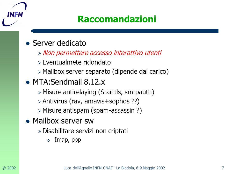 © 20027Luca dell'Agnello INFN-CNAF - La Biodola, 6-9 Maggio 2002 Raccomandazioni Server dedicato  Non permettere accesso interattivo utenti  Eventua