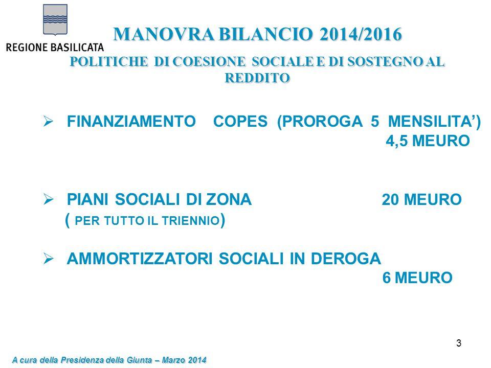 3 MANOVRA BILANCIO 2014/2016 POLITICHE DI COESIONE SOCIALE E DI SOSTEGNO AL REDDITO A cura della Presidenza della Giunta – Marzo 2014  FINANZIAMENTO