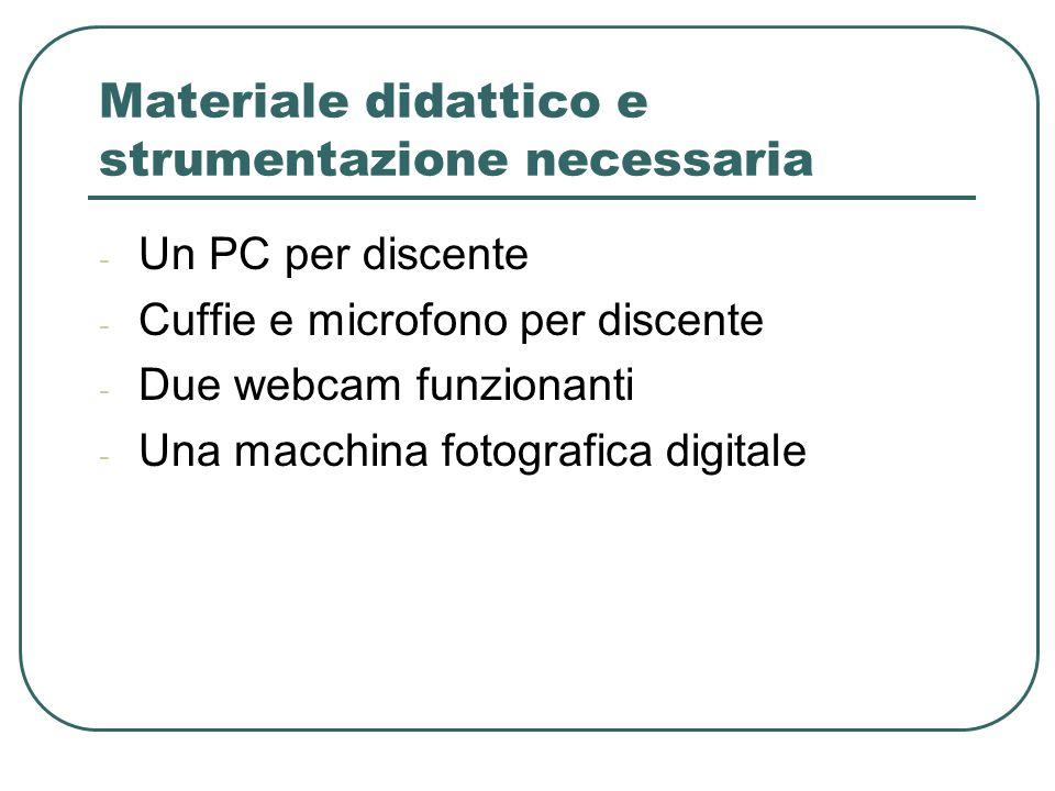 Materiale didattico e strumentazione necessaria - Un PC per discente - Cuffie e microfono per discente - Due webcam funzionanti - Una macchina fotografica digitale