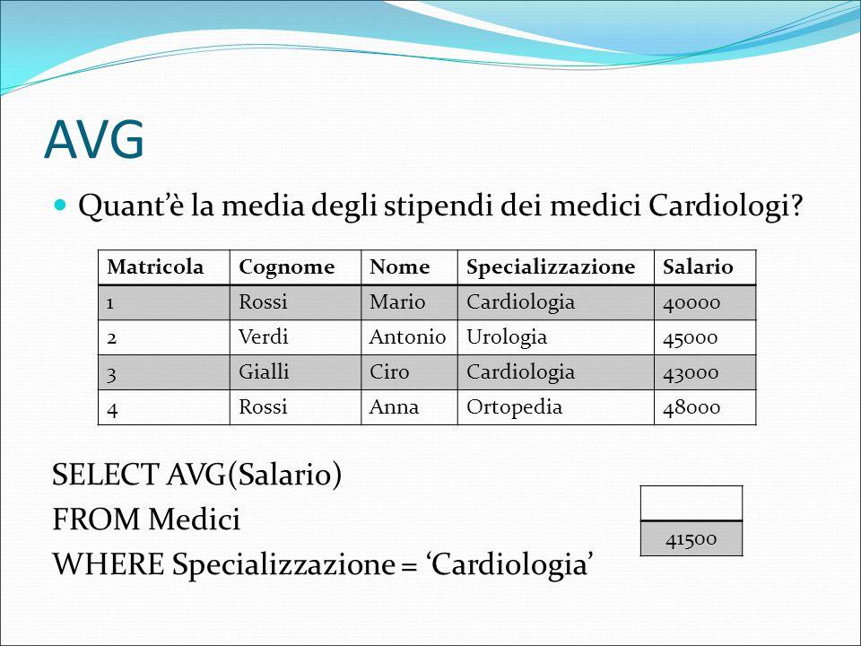 AVG Quant'è la media degli stipendi dei medici Cardiologi.