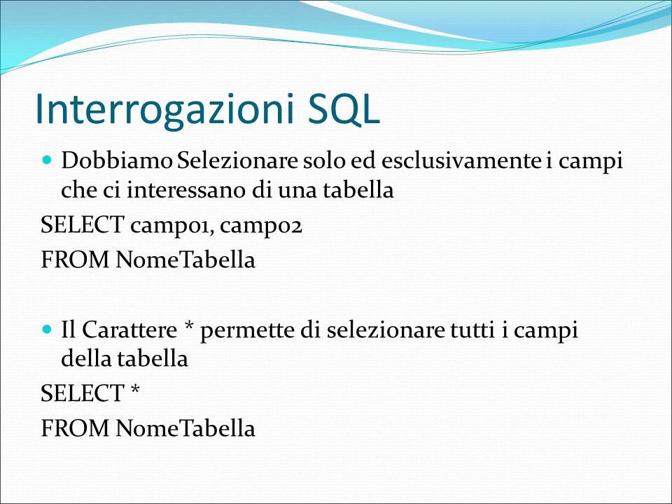 Interrogazioni SQL Dobbiamo Selezionare solo ed esclusivamente i campi che ci interessano di una tabella SELECT campo1, campo2 FROM NomeTabella Il Carattere * permette di selezionare tutti i campi della tabella SELECT * FROM NomeTabella