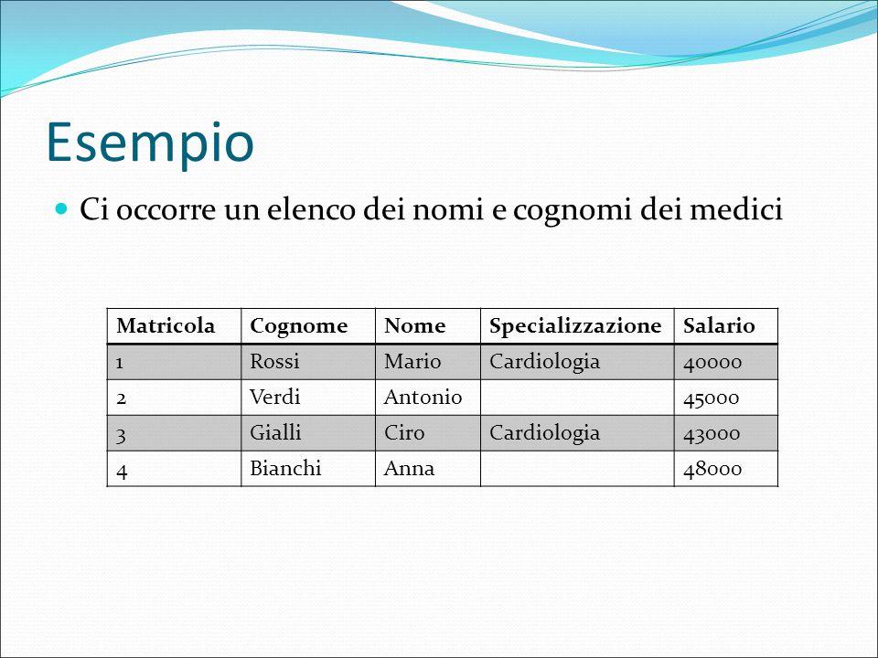 Esempio Ci occorre un elenco dei nomi e cognomi dei medici MatricolaCognomeNomeSpecializzazioneSalario 1RossiMarioCardiologia40000 2VerdiAntonio45000 3GialliCiroCardiologia43000 4BianchiAnna48000