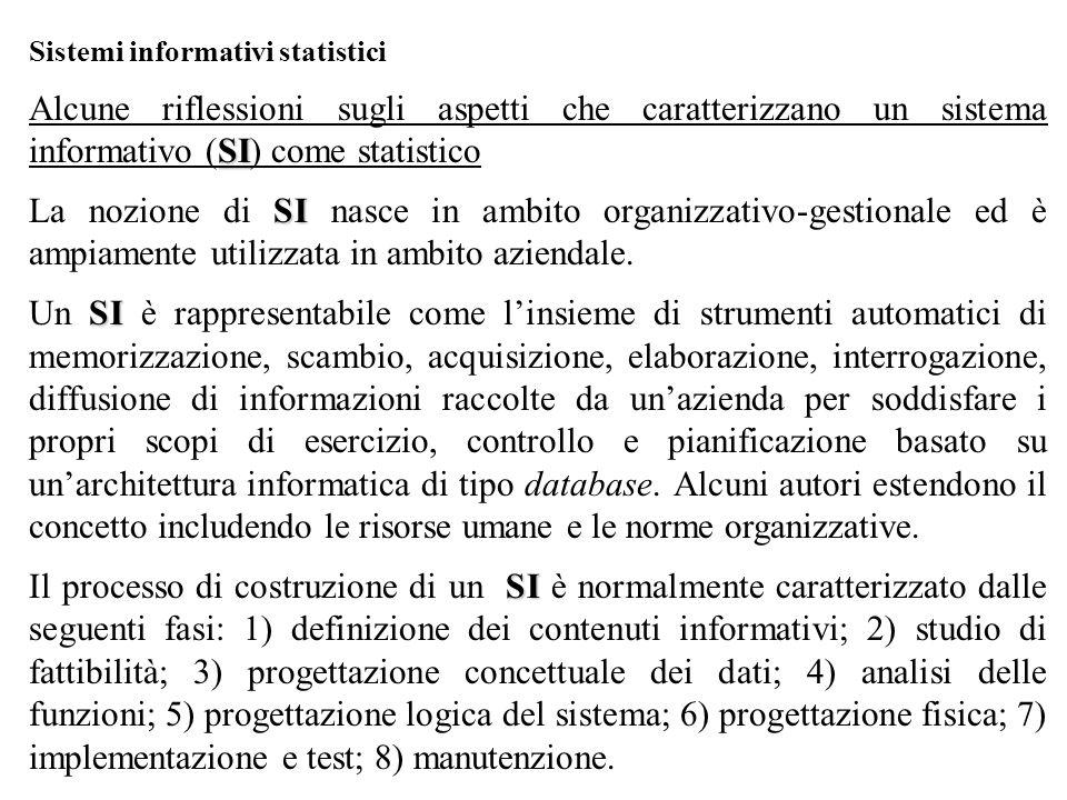 Sistemi informativi statistici SI Alcune riflessioni sugli aspetti che caratterizzano un sistema informativo (SI) come statistico SI La nozione di SI nasce in ambito organizzativo-gestionale ed è ampiamente utilizzata in ambito aziendale.