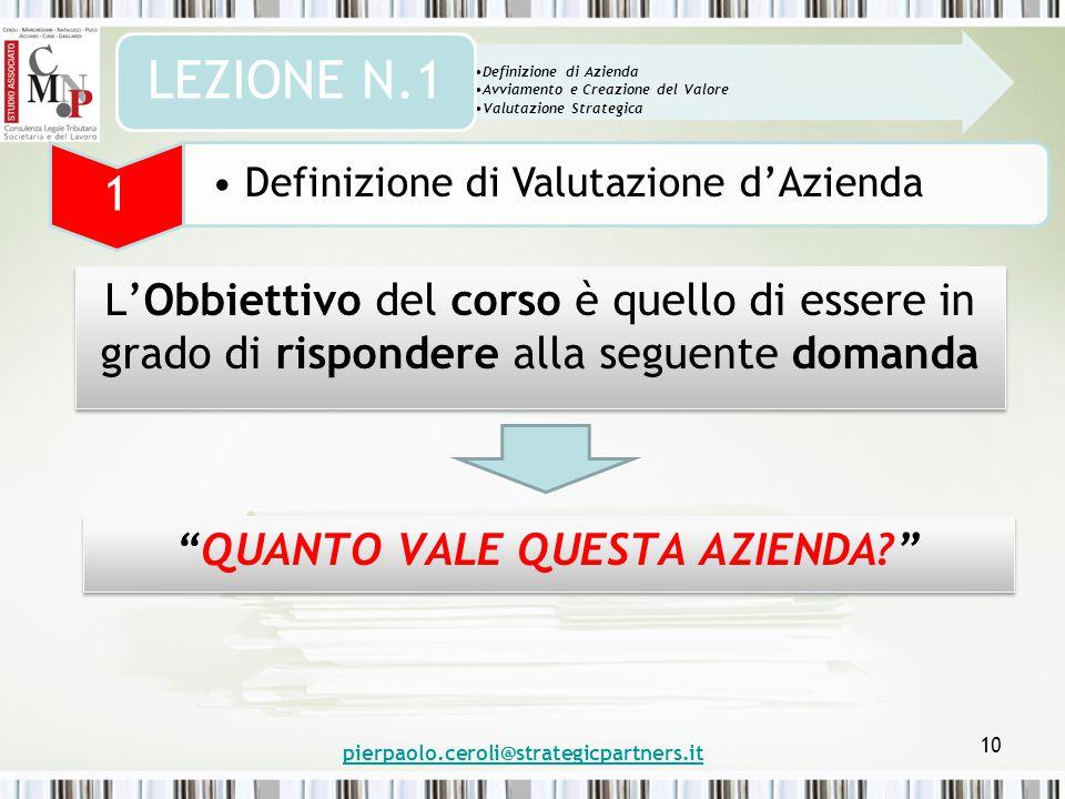 10 L'Obbiettivo del corso è quello di essere in grado di rispondere alla seguente domanda Definizione di Azienda Avviamento e Creazione del Valore Valutazione Strategica LEZIONE N.1 1 Definizione di Valutazione d'Azienda QUANTO VALE QUESTA AZIENDA