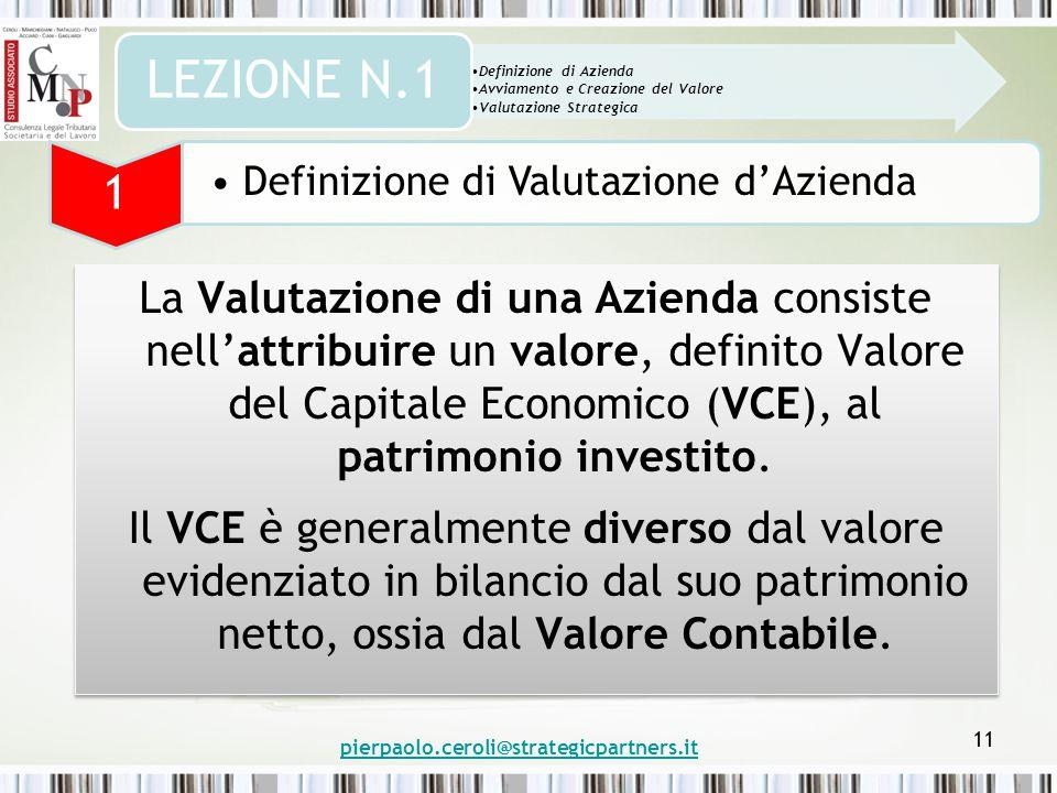 pierpaolo.ceroli@strategicpartners.it 11 La Valutazione di una Azienda consiste nell'attribuire un valore, definito Valore del Capitale Economico (VCE), al patrimonio investito.