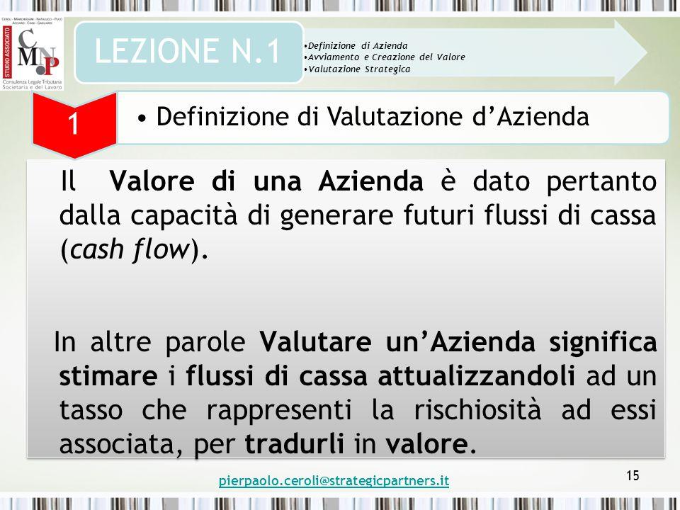 pierpaolo.ceroli@strategicpartners.it 15 Il Valore di una Azienda è dato pertanto dalla capacità di generare futuri flussi di cassa (cash flow).