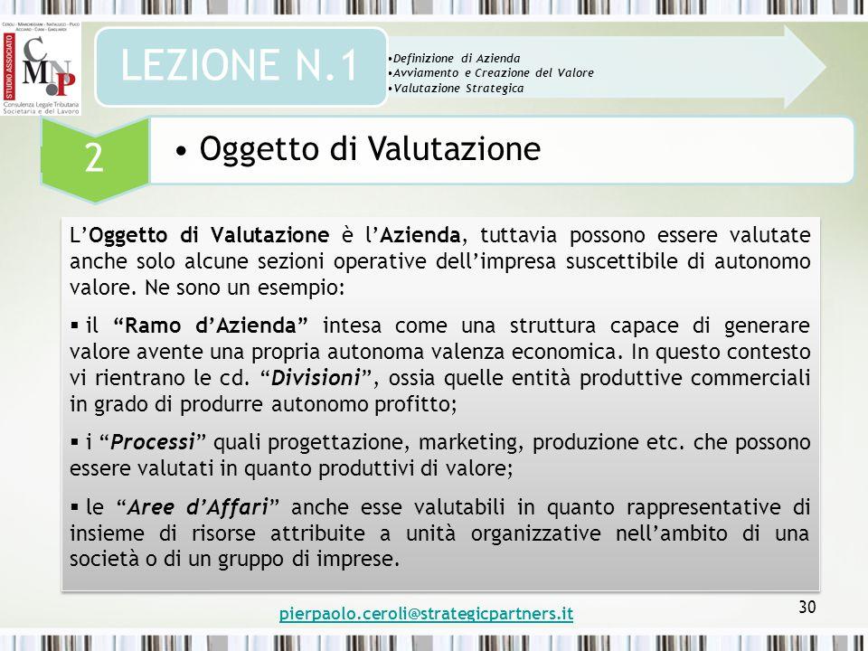 pierpaolo.ceroli@strategicpartners.it 30 L'Oggetto di Valutazione è l'Azienda, tuttavia possono essere valutate anche solo alcune sezioni operative dell'impresa suscettibile di autonomo valore.