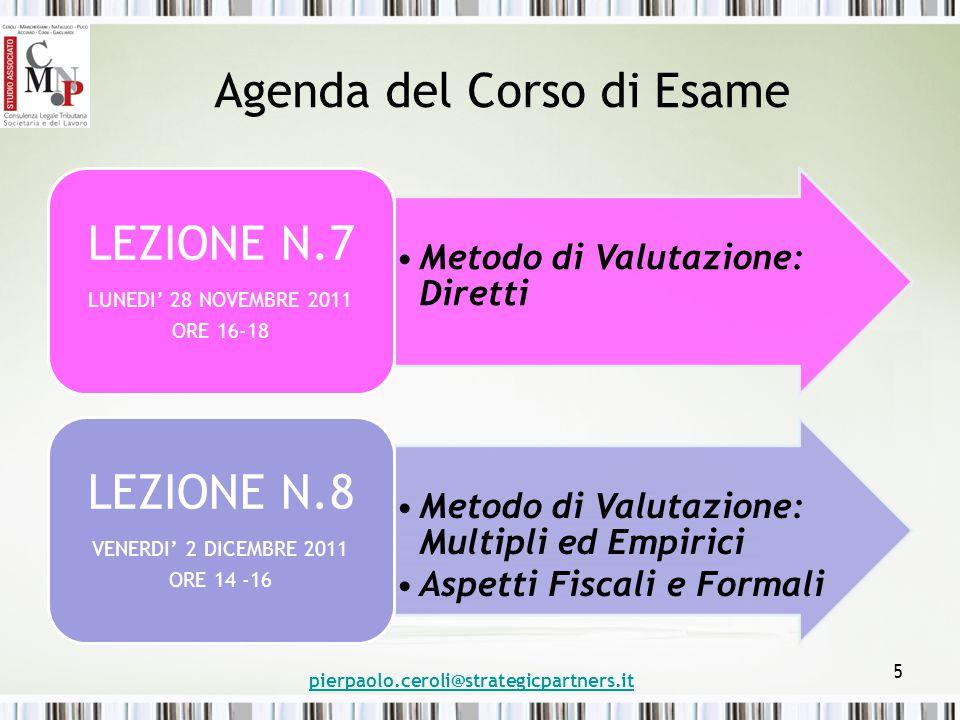 Agenda del Corso di Esame Metodo di Valutazione: Diretti LEZIONE N.7 LUNEDI' 28 NOVEMBRE 2011 ORE 16-18 Metodo di Valutazione: Multipli ed Empirici Aspetti Fiscali e Formali LEZIONE N.8 VENERDI' 2 DICEMBRE 2011 ORE 14 -16 pierpaolo.ceroli@strategicpartners.it 5
