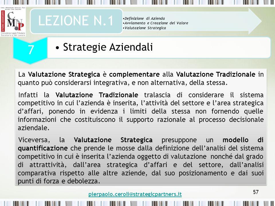 57 La Valutazione Strategica è complementare alla Valutazione Tradizionale in quanto può considerarsi integrativa, e non alternativa, della stessa.