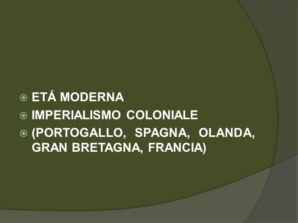  ETÁ MODERNA  IMPERIALISMO COLONIALE  (PORTOGALLO, SPAGNA, OLANDA, GRAN BRETAGNA, FRANCIA)