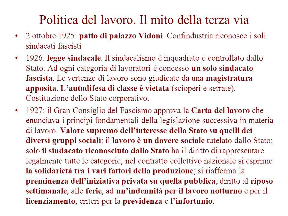 Politica del lavoro. Il mito della terza via 2 ottobre 1925: patto di palazzo Vidoni. Confindustria riconosce i soli sindacati fascisti 1926: legge si