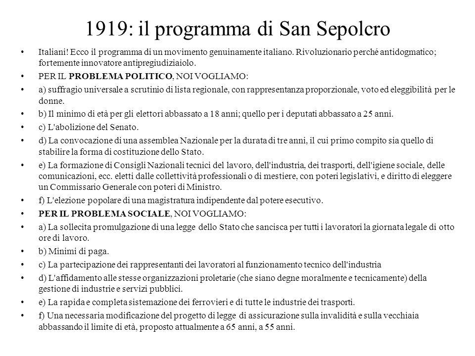 1919: il programma di San Sepolcro Italiani! Ecco il programma di un movimento genuinamente italiano. Rivoluzionario perché antidogmatico; fortemente