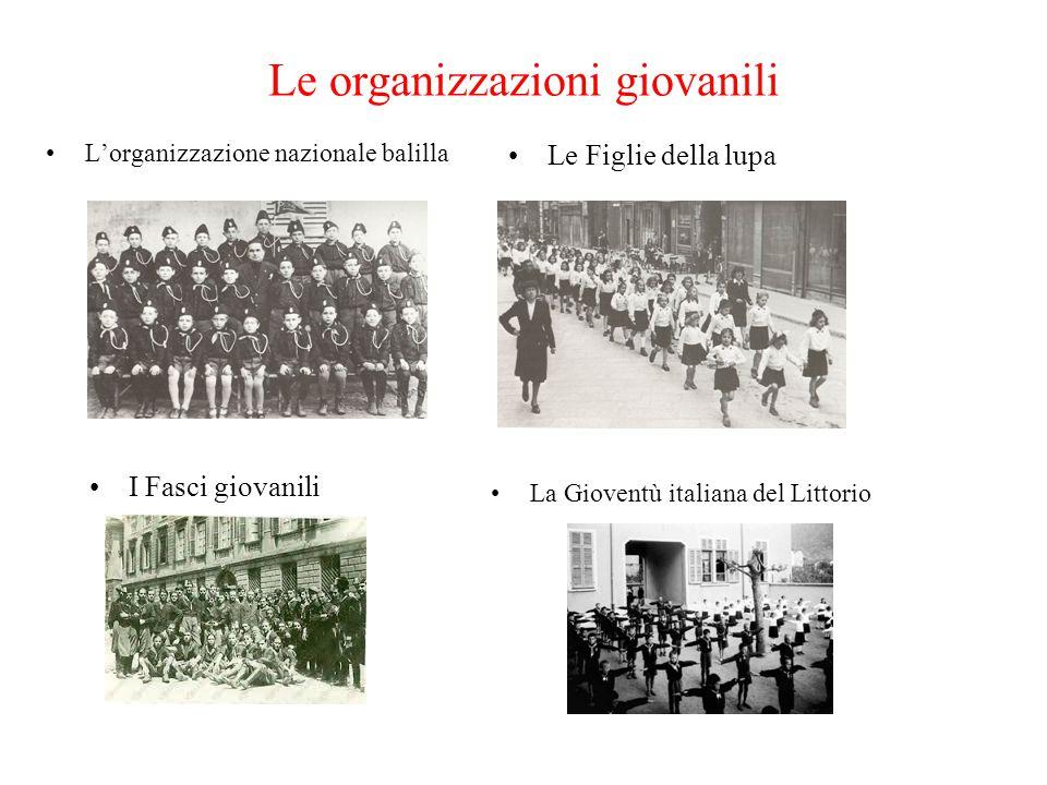 Le organizzazioni giovanili L'organizzazione nazionale balilla Le Figlie della lupa I Fasci giovanili La Gioventù italiana del Littorio