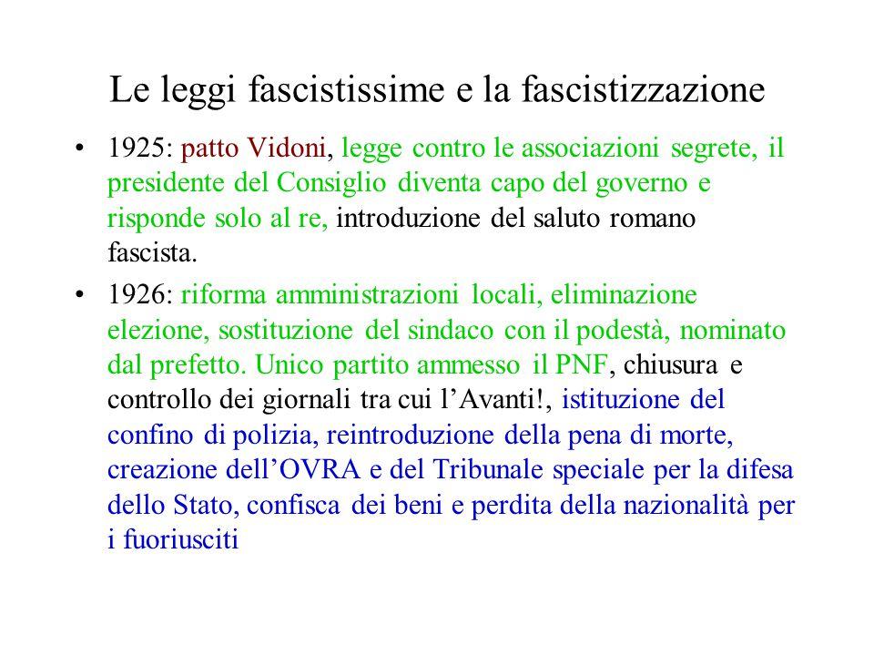 Le leggi fascistissime e la fascistizzazione 1925: patto Vidoni, legge contro le associazioni segrete, il presidente del Consiglio diventa capo del go