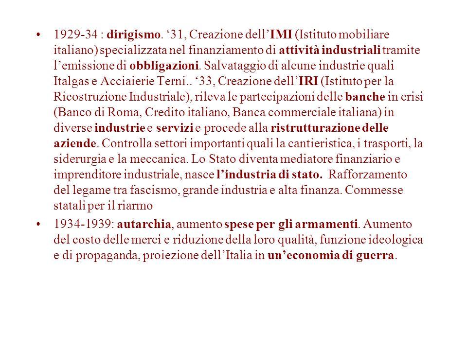 1929-34 : dirigismo. '31, Creazione dell'IMI (Istituto mobiliare italiano) specializzata nel finanziamento di attività industriali tramite l'emissione