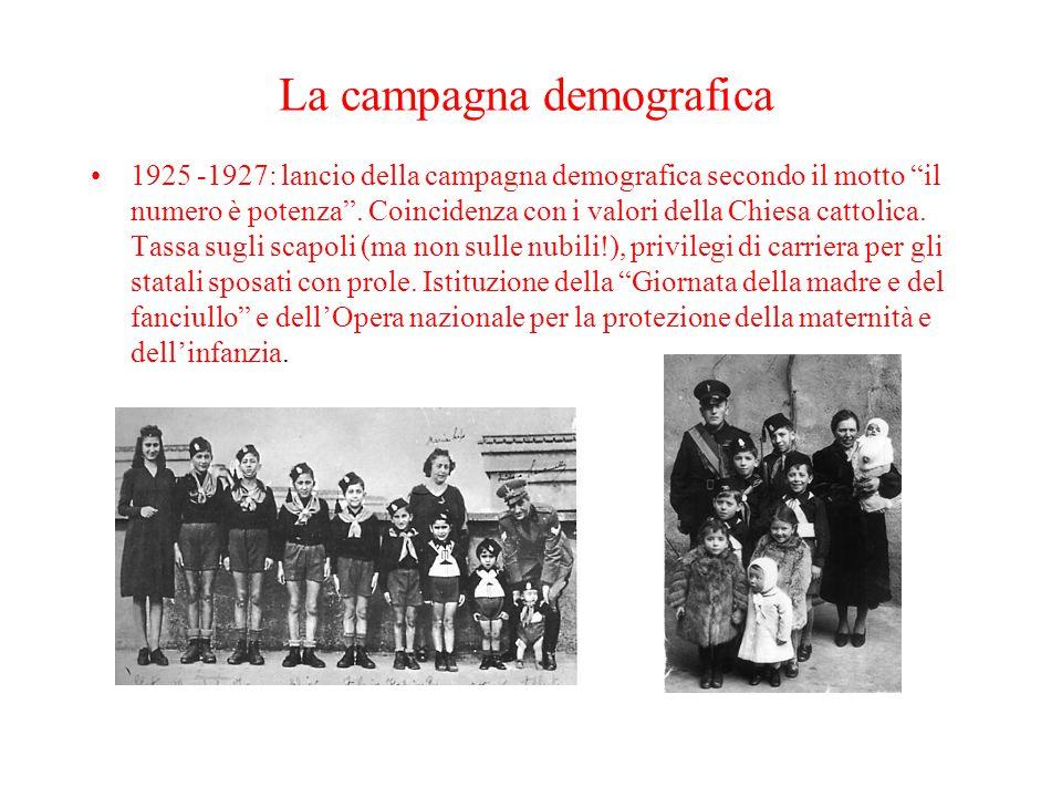 """La campagna demografica 1925 -1927: lancio della campagna demografica secondo il motto """"il numero è potenza"""". Coincidenza con i valori della Chiesa ca"""