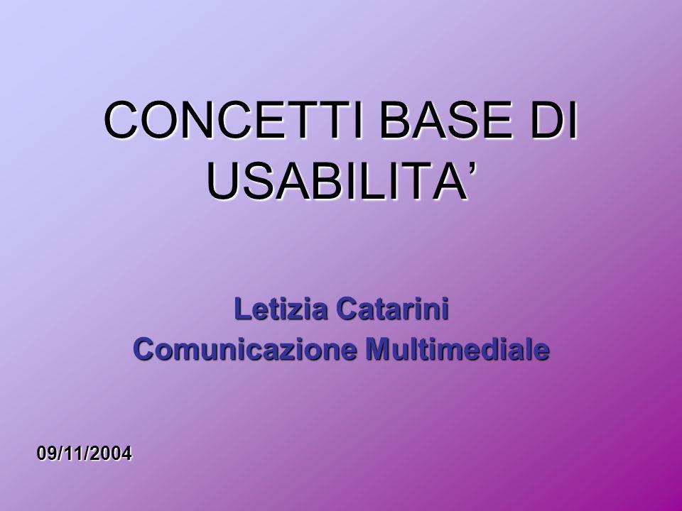 CONCETTI BASE DI USABILITA' Letizia Catarini Comunicazione Multimediale 09/11/2004