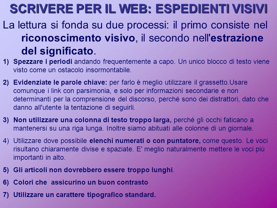 SCRIVERE PER IL WEB: ESPEDIENTI VISIVI La lettura si fonda su due processi: il primo consiste nel riconoscimento visivo, il secondo nell estrazione del significato.