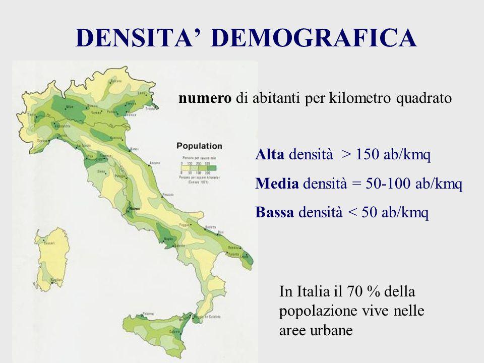 DENSITA' DEMOGRAFICA numero di abitanti per kilometro quadrato Alta densità > 150 ab/kmq Media densità = 50-100 ab/kmq Bassa densità < 50 ab/kmq In It