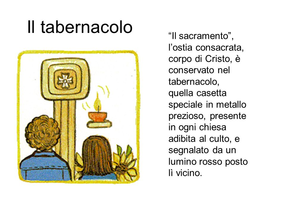 """Il tabernacolo """"Il sacramento"""", l'ostia consacrata, corpo di Cristo, è conservato nel tabernacolo, quella casetta speciale in metallo prezioso, presen"""