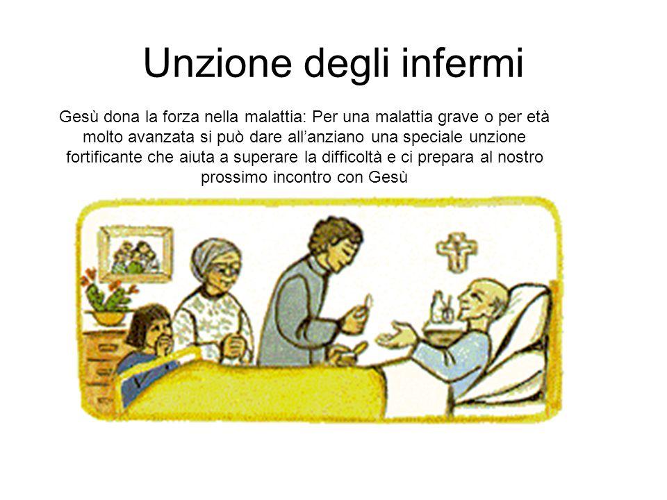Unzione degli infermi Gesù dona la forza nella malattia: Per una malattia grave o per età molto avanzata si può dare all'anziano una speciale unzione