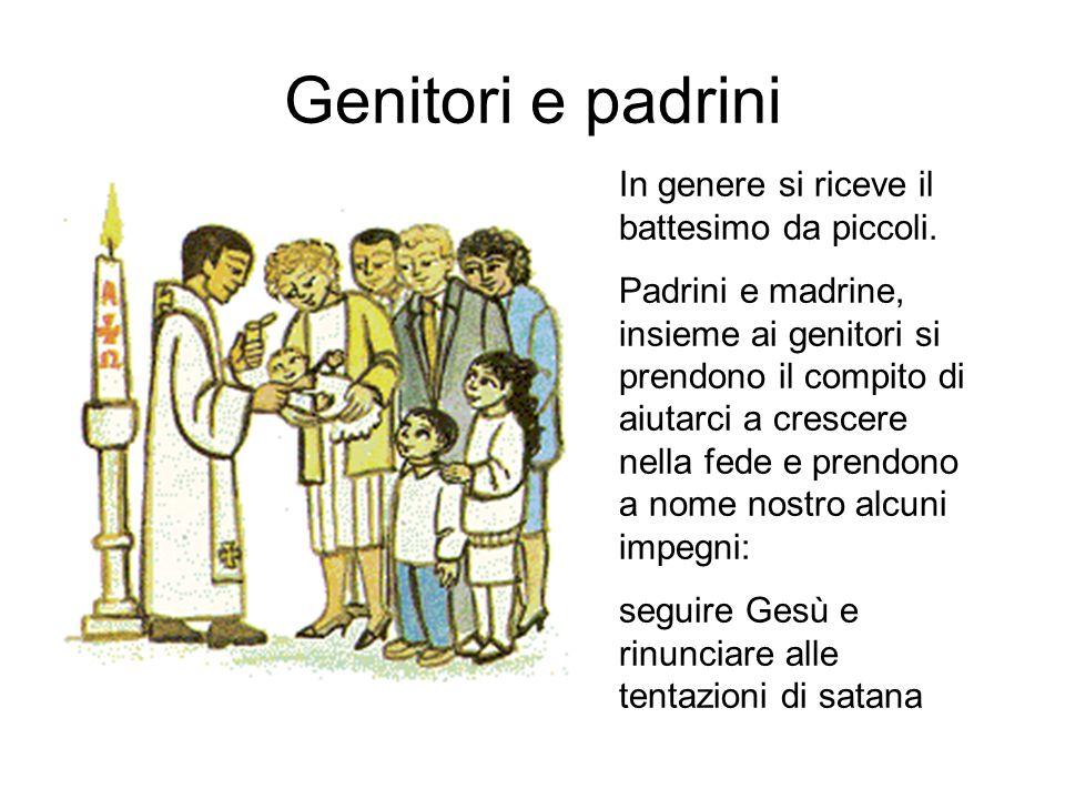 Genitori e padrini In genere si riceve il battesimo da piccoli. Padrini e madrine, insieme ai genitori si prendono il compito di aiutarci a crescere n