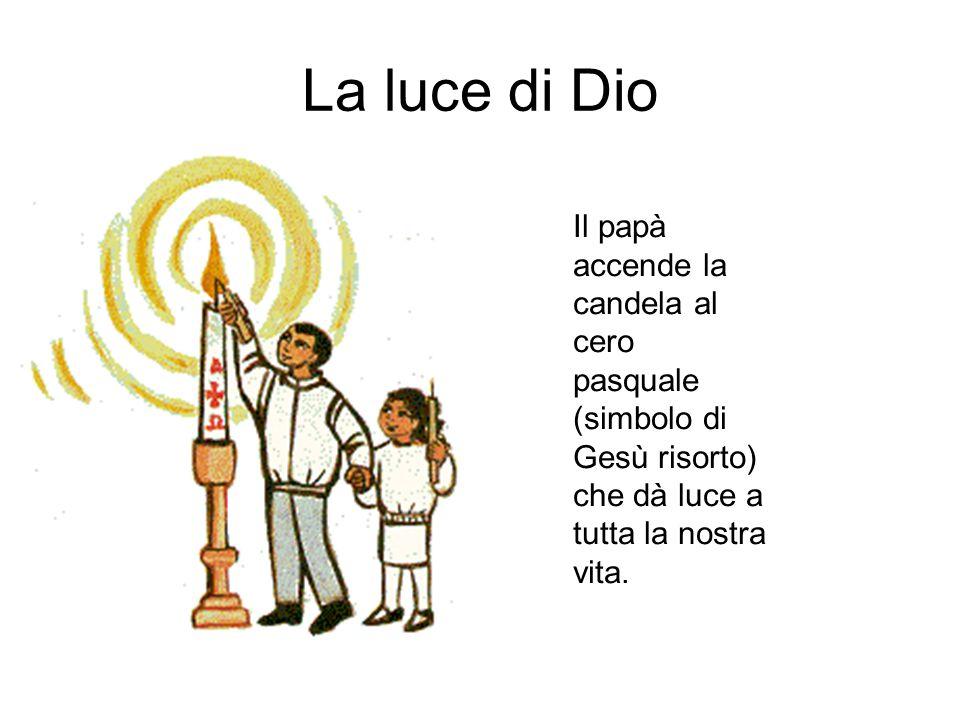 La luce di Dio Il papà accende la candela al cero pasquale (simbolo di Gesù risorto) che dà luce a tutta la nostra vita.