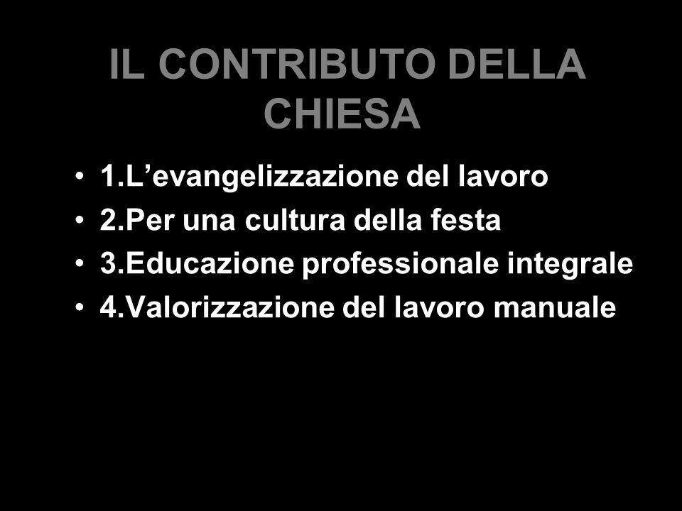 IL CONTRIBUTO DELLA CHIESA 1.L'evangelizzazione del lavoro 2.Per una cultura della festa 3.Educazione professionale integrale 4.Valorizzazione del lavoro manuale