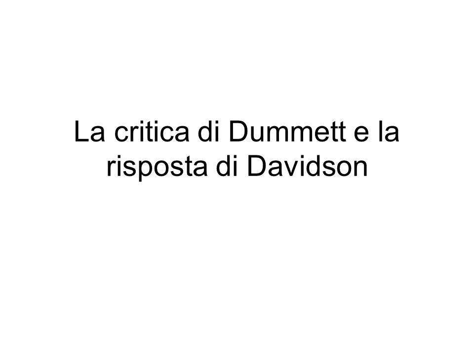 La critica di Dummett e la risposta di Davidson