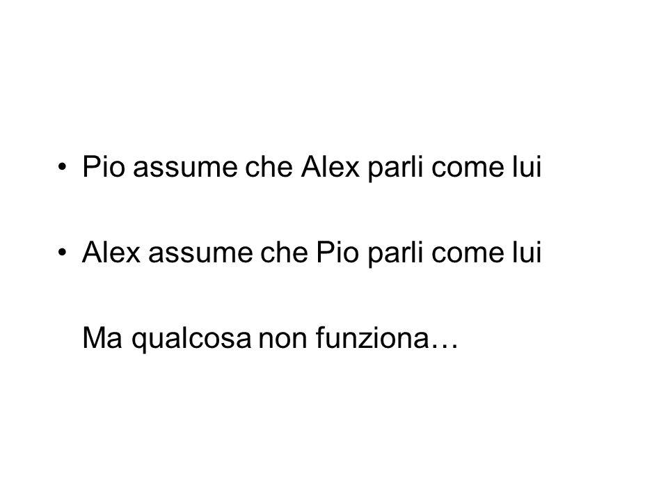 Pio assume che Alex parli come lui Alex assume che Pio parli come lui Ma qualcosa non funziona…