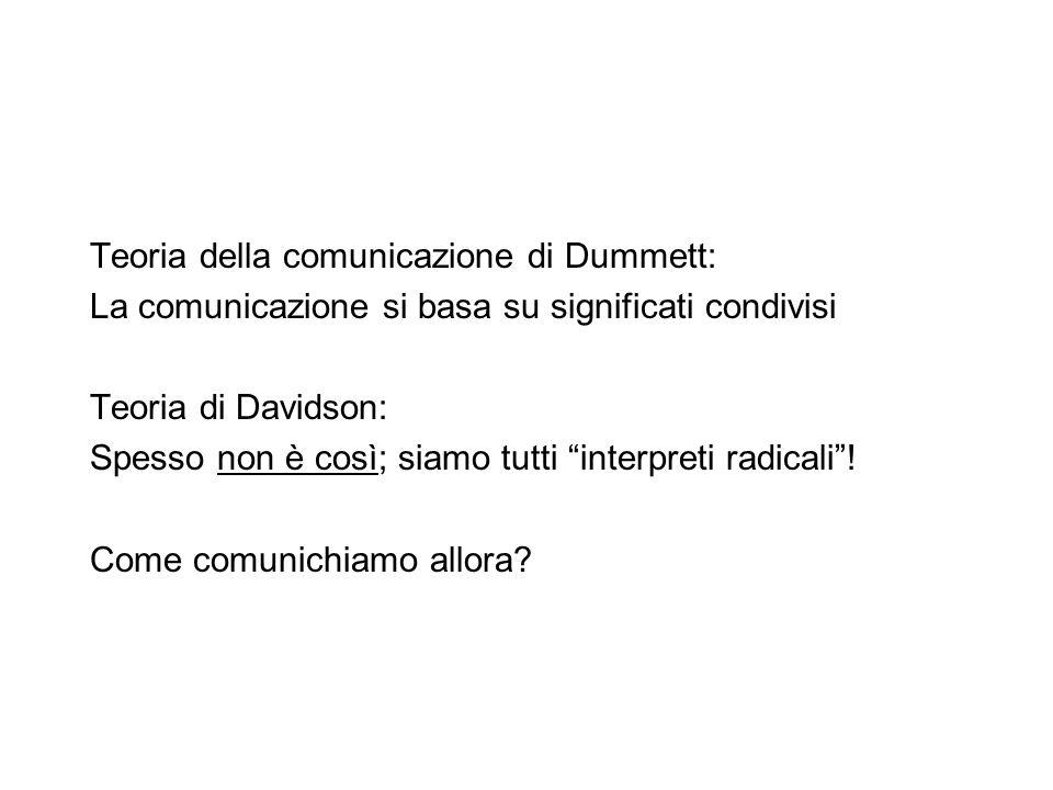 """Teoria della comunicazione di Dummett: La comunicazione si basa su significati condivisi Teoria di Davidson: Spesso non è così; siamo tutti """"interpret"""