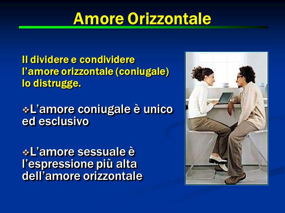 Amore Orizzontale Il dividere e condividere l'amore orizzontale (coniugale) lo distrugge.  L'amore coniugale è unico ed esclusivo  L'amore sessuale