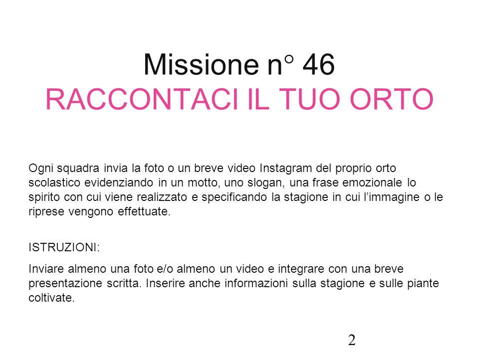 Missione n° 46 RACCONTACI IL TUO ORTO Ogni squadra invia la foto o un breve video Instagram del proprio orto scolastico evidenziando in un motto, uno