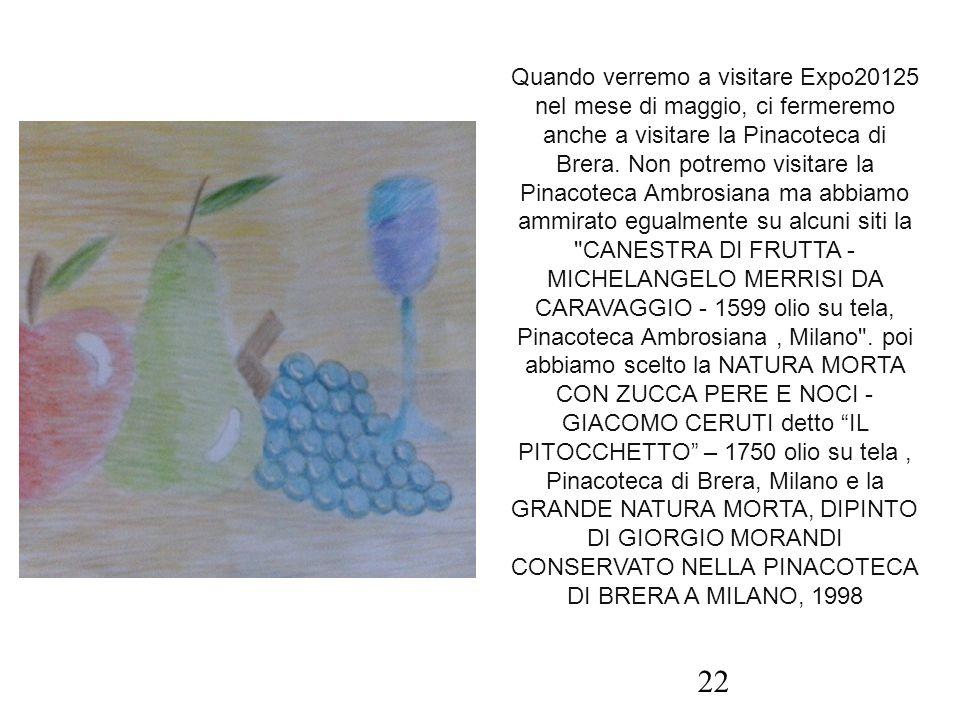 Quando verremo a visitare Expo20125 nel mese di maggio, ci fermeremo anche a visitare la Pinacoteca di Brera. Non potremo visitare la Pinacoteca Ambro