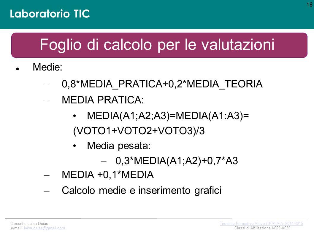 Laboratorio TIC Foglio di calcolo per le valutazioni Medie: – 0,8*MEDIA_PRATICA+0,2*MEDIA_TEORIA – MEDIA PRATICA: MEDIA(A1;A2;A3)=MEDIA(A1:A3)= (VOTO1+VOTO2+VOTO3)/3 Media pesata: – 0,3*MEDIA(A1;A2)+0,7*A3 – MEDIA +0,1*MEDIA – Calcolo medie e inserimento grafici 18 Docente: Luisa Deias Tirocinio Formativo Attivo (TFA) A.A.