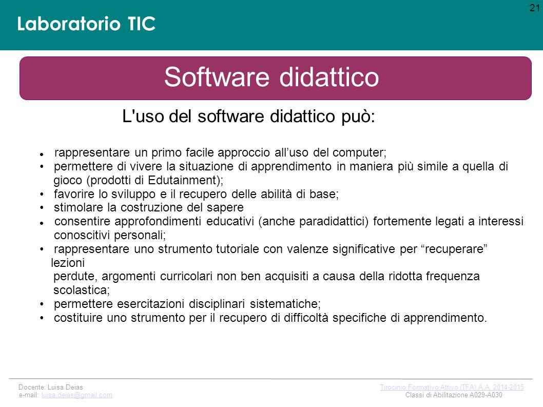 Laboratorio TIC Software didattico L uso del software didattico può: 21 Docente: Luisa Deias Tirocinio Formativo Attivo (TFA) A.A.