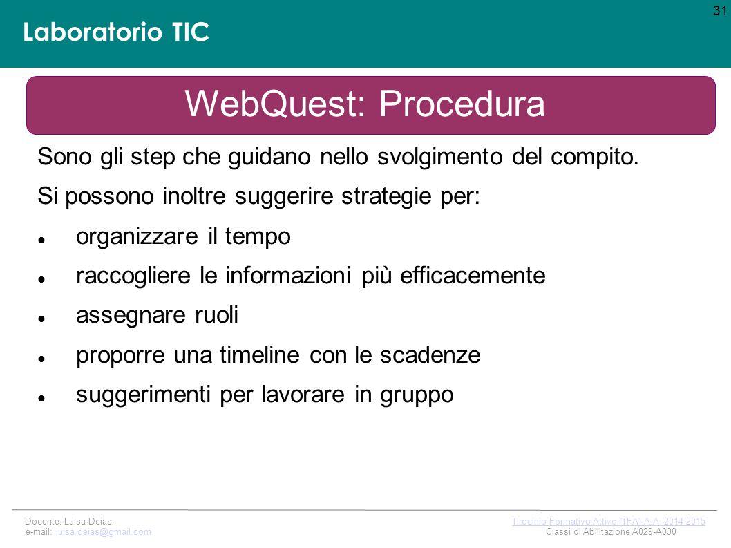 Laboratorio TIC 31 Docente: Luisa Deias Tirocinio Formativo Attivo (TFA) A.A.