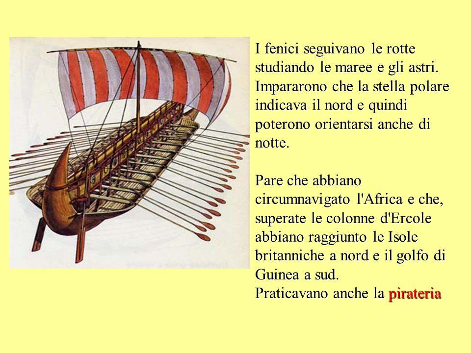I fenici seguivano le rotte studiando le maree e gli astri. Impararono che la stella polare indicava il nord e quindi poterono orientarsi anche di not