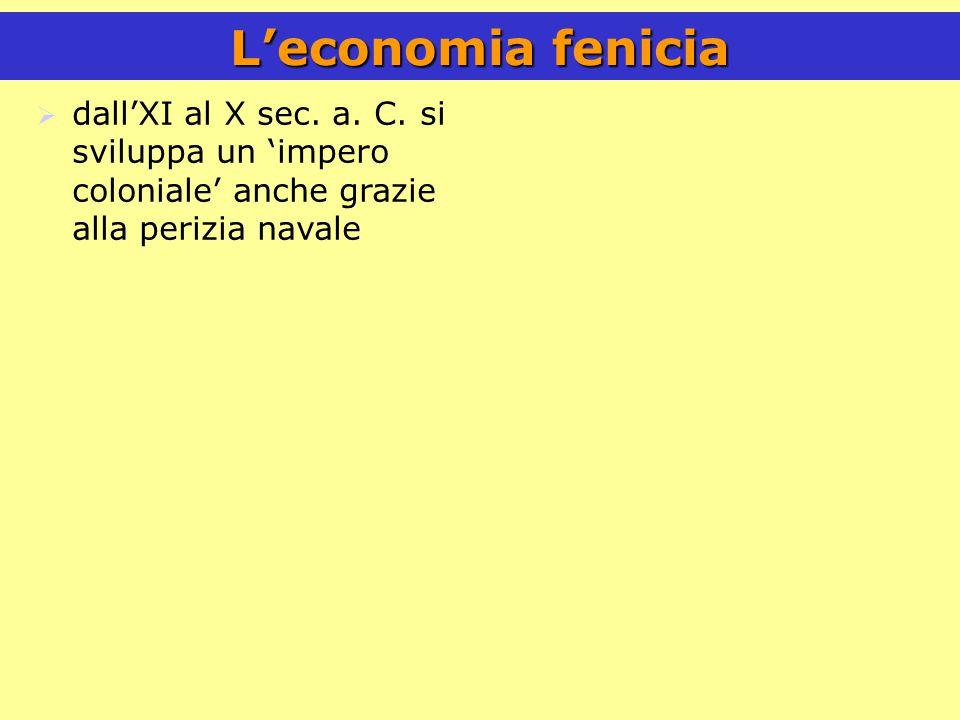 L'economia fenicia  dall'XI al X sec.a. C.