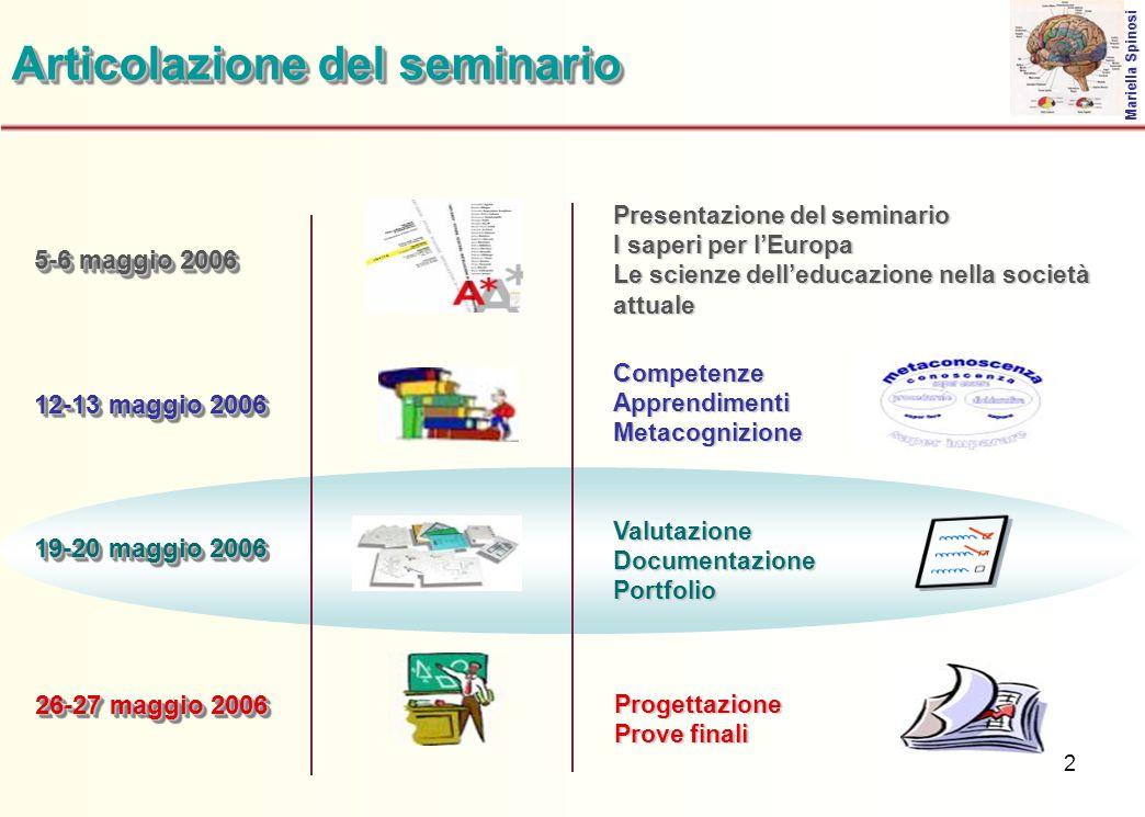 2 5-6 maggio 2006 Articolazione del seminario Presentazione del seminario I saperi per l'Europa Le scienze dell'educazione nella società attuale Marie