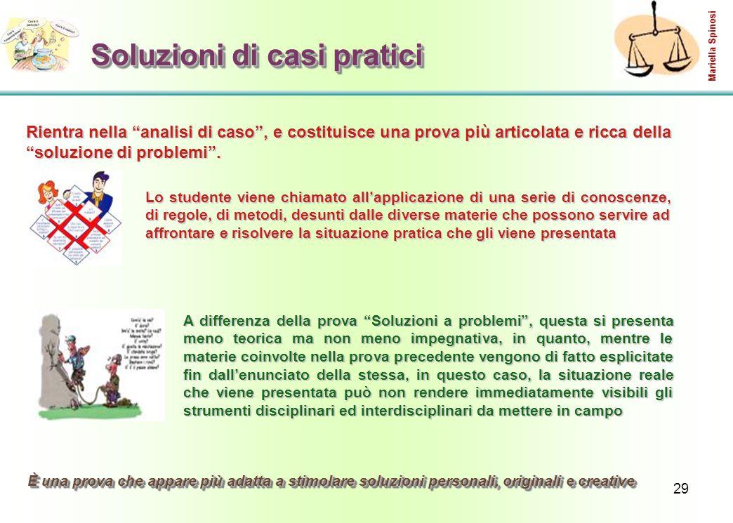 29 Soluzioni di casi pratici Lo studente viene chiamato all'applicazione di una serie di conoscenze, di regole, di metodi, desunti dalle diverse mater