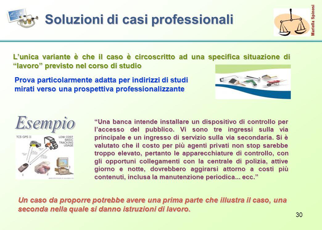 30 Soluzioni di casi professionali L'unica variante è che il caso è circoscritto ad una specifica situazione di lavoro previsto nel corso di studio Una banca intende installare un dispositivo di controllo per l'accesso del pubblico.