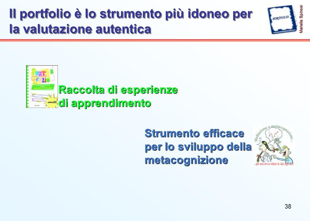 38 Il portfolio è lo strumento più idoneo per la valutazione autentica Mariella Spinosi Strumento efficace per lo sviluppo della metacognizione Raccolta di esperienze di apprendimento