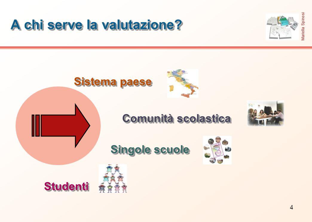 4 A chi serve la valutazione? Sistema paese StudentiStudenti Singole scuole Comunità scolastica Mariella Spinosi
