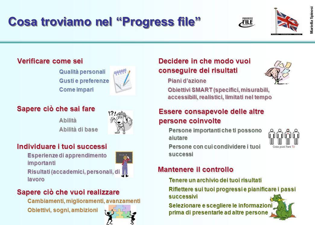 """43 Cosa troviamo nel """"Progress file"""" Verificare come sei Mariella Spinosi Qualità personali Gusti e preferenze Come impari Sapere ciò che sai fare Abi"""