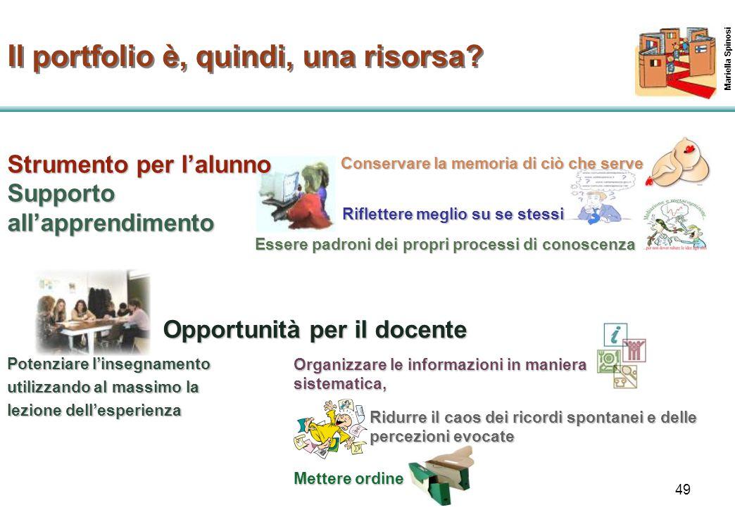 49 Strumento per l'alunno Supporto all'apprendimento Mariella Spinosi Il portfolio è, quindi, una risorsa? Conservare la memoria di ciò che serve Oppo