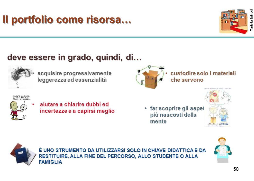 50 Mariella Spinosi Il portfolio come risorsa… acquisire progressivamente leggerezza ed essenzialitàacquisire progressivamente leggerezza ed essenzial