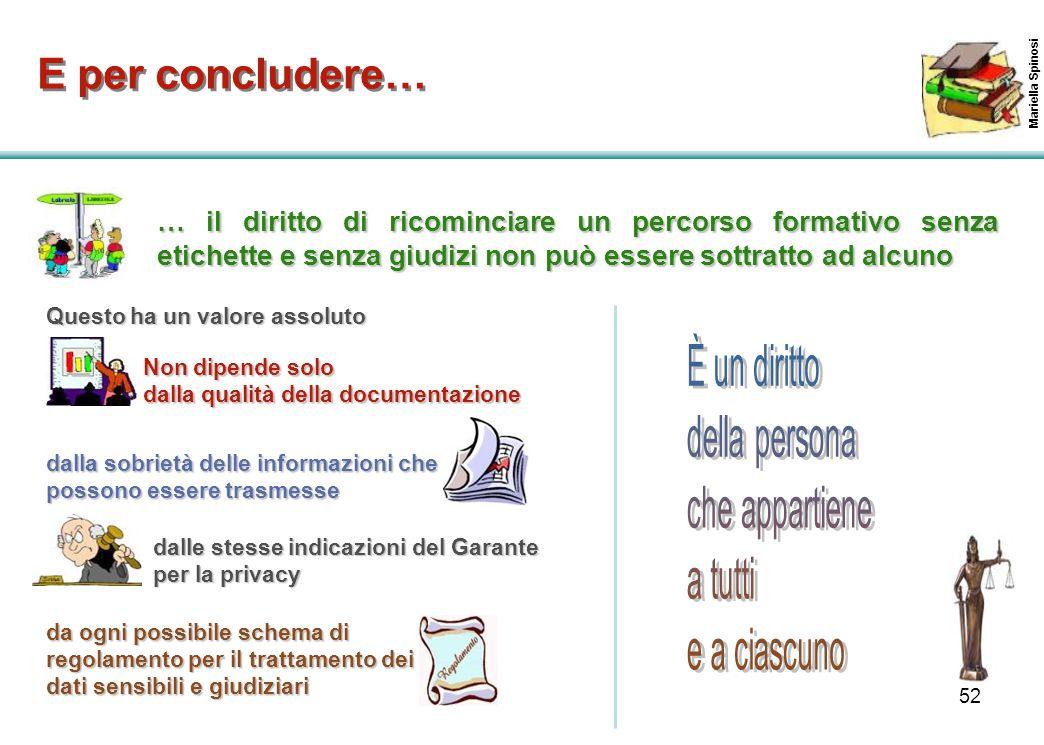 52 Mariella Spinosi E per concludere… … il diritto di ricominciare un percorso formativo senza etichette e senza giudizi non può essere sottratto ad a